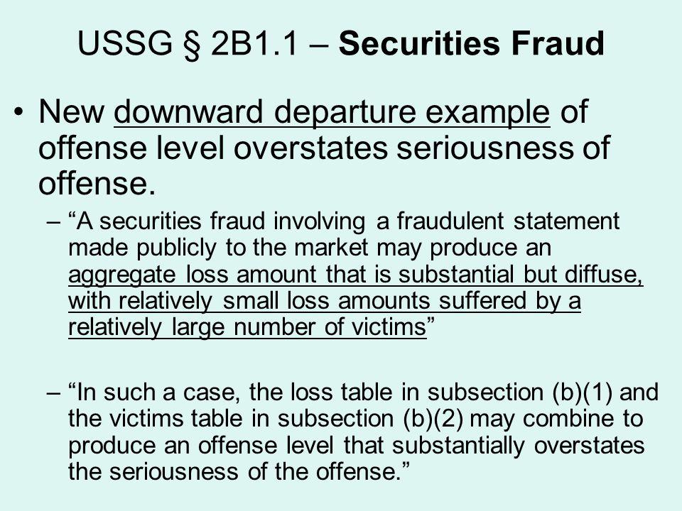 USSG § 2B1.1 – Securities Fraud