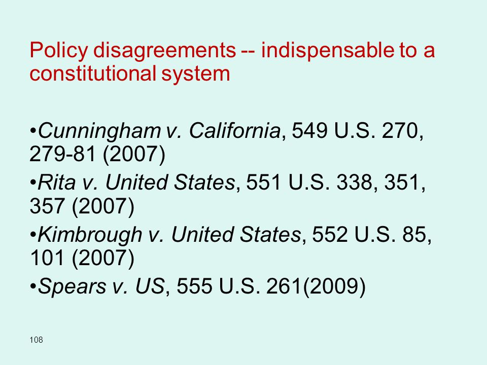 Policy disagreements -- indispensable to a constitutional system