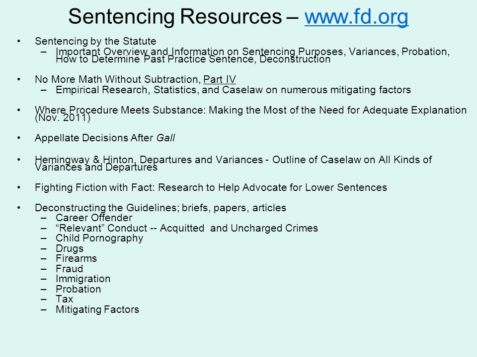 Sentencing Resources – www.fd.org