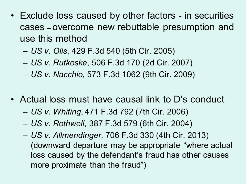 Actual loss must have causal link to D's conduct