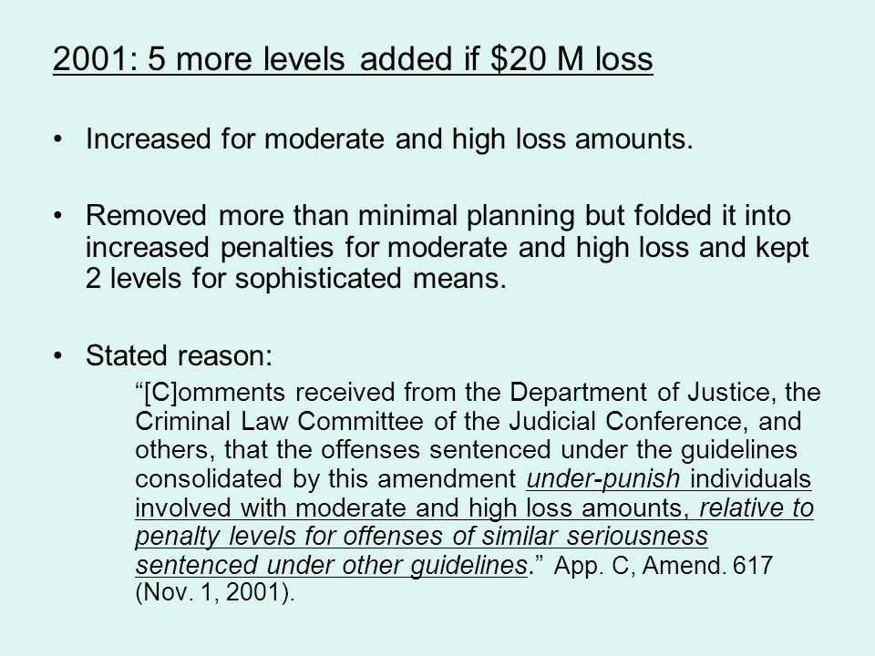 2001: 5 more levels added if $20 M loss