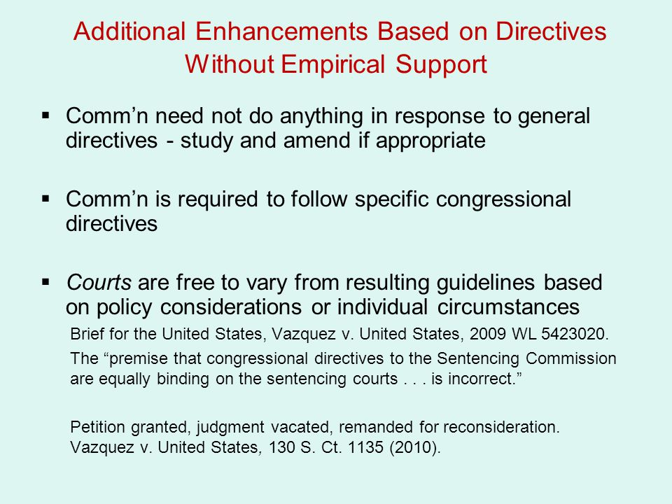 Additional Enhancements Based on Directives Without Empirical Support