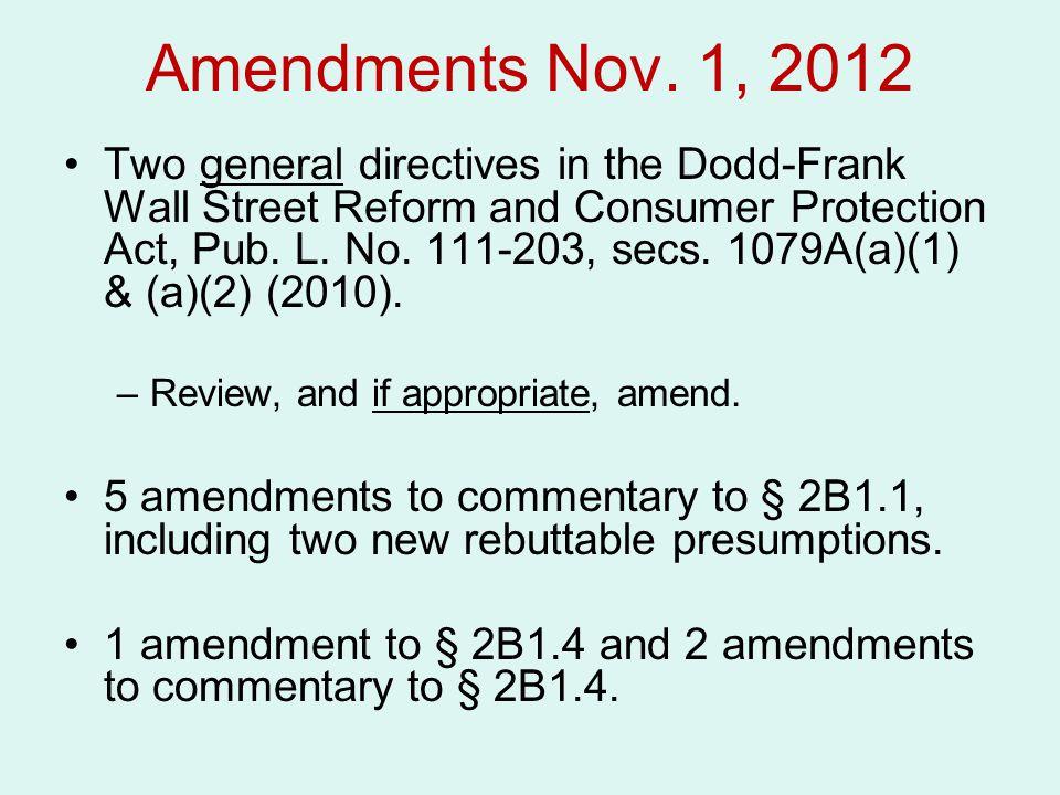 Amendments Nov. 1, 2012