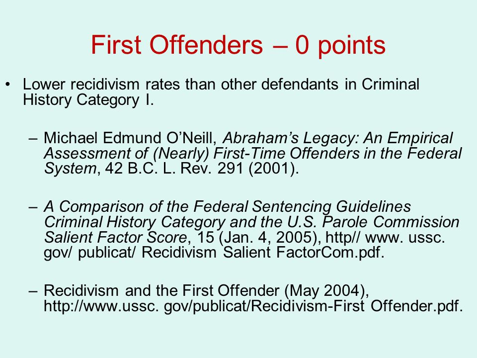 First Offenders – 0 points