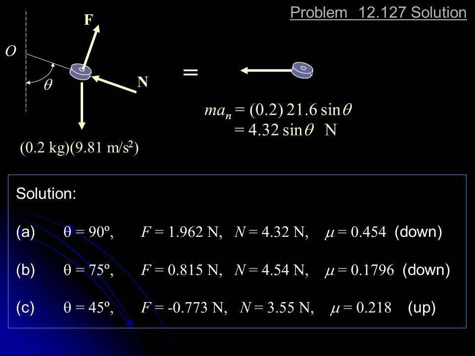 = man = (0.2) 21.6 sinq = 4.32 sinq N Problem 12.127 Solution F O N q