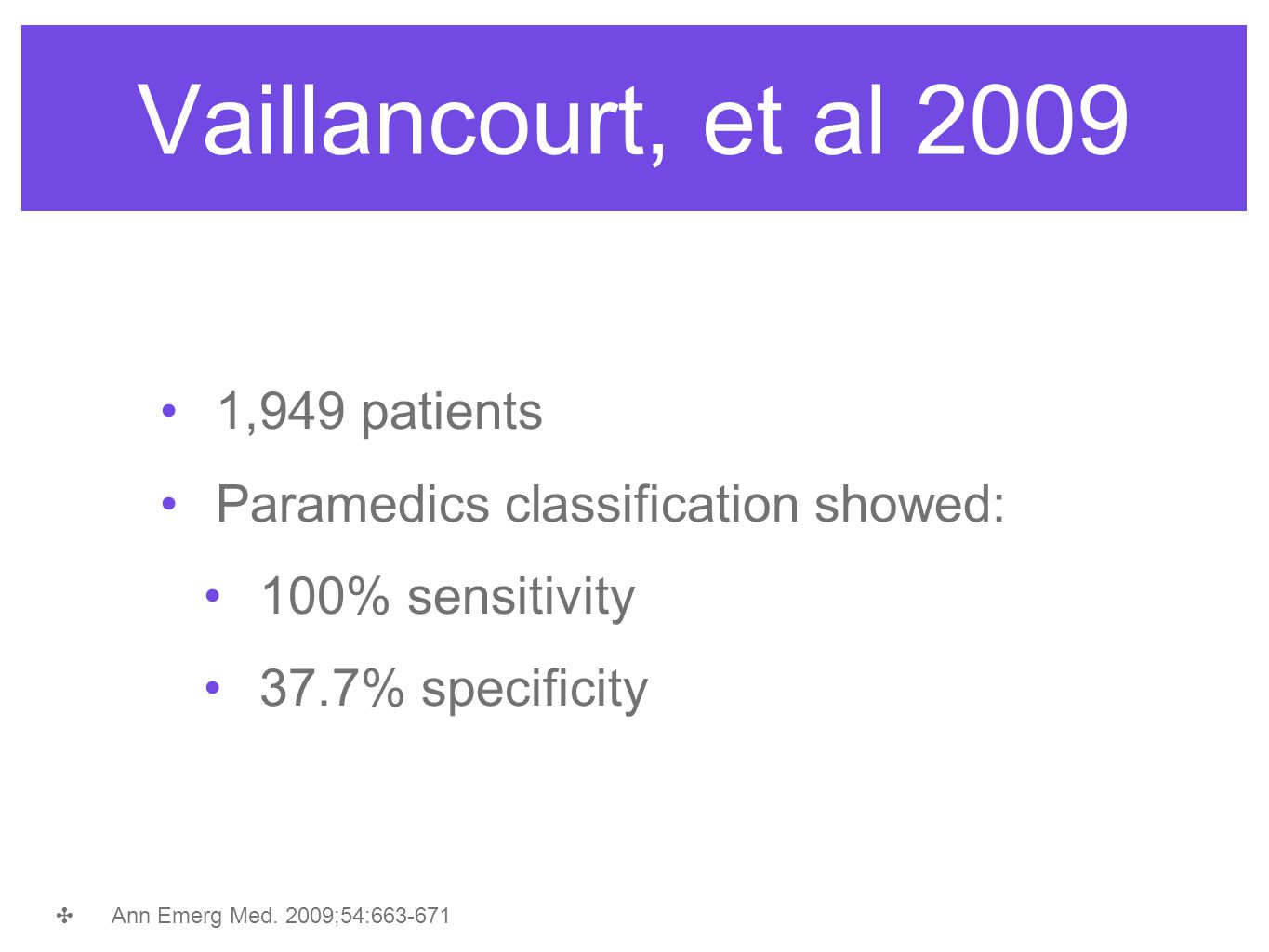 Vaillancourt, et al 2009 1,949 patients