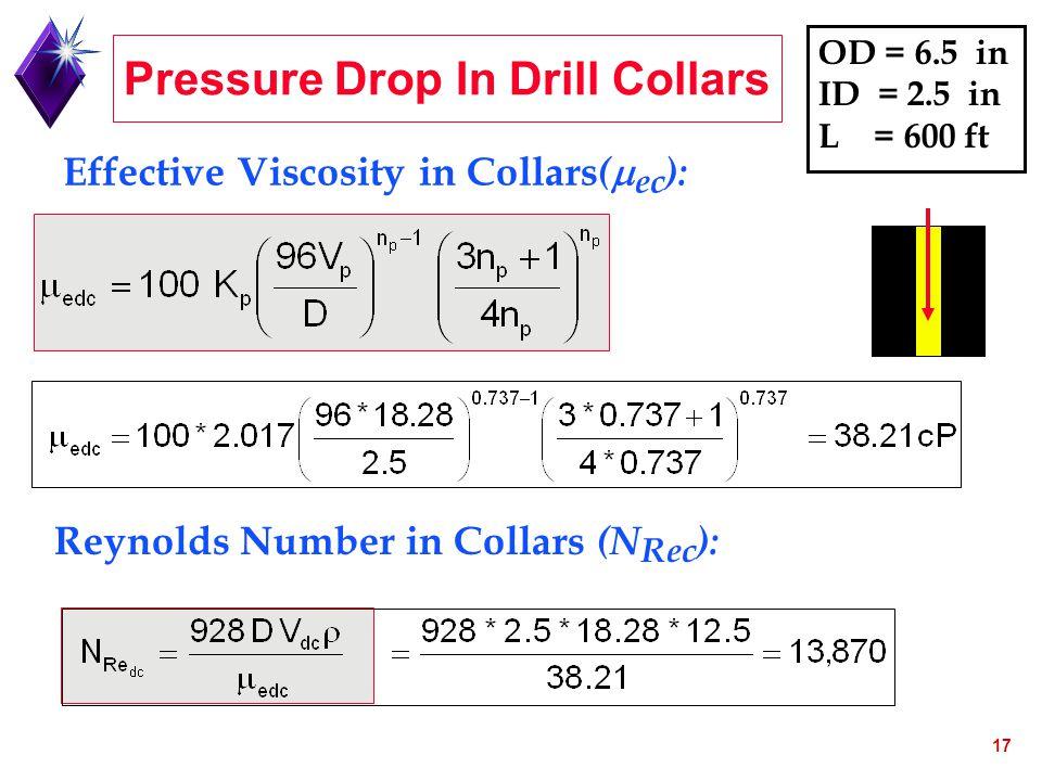 Pressure Drop In Drill Collars