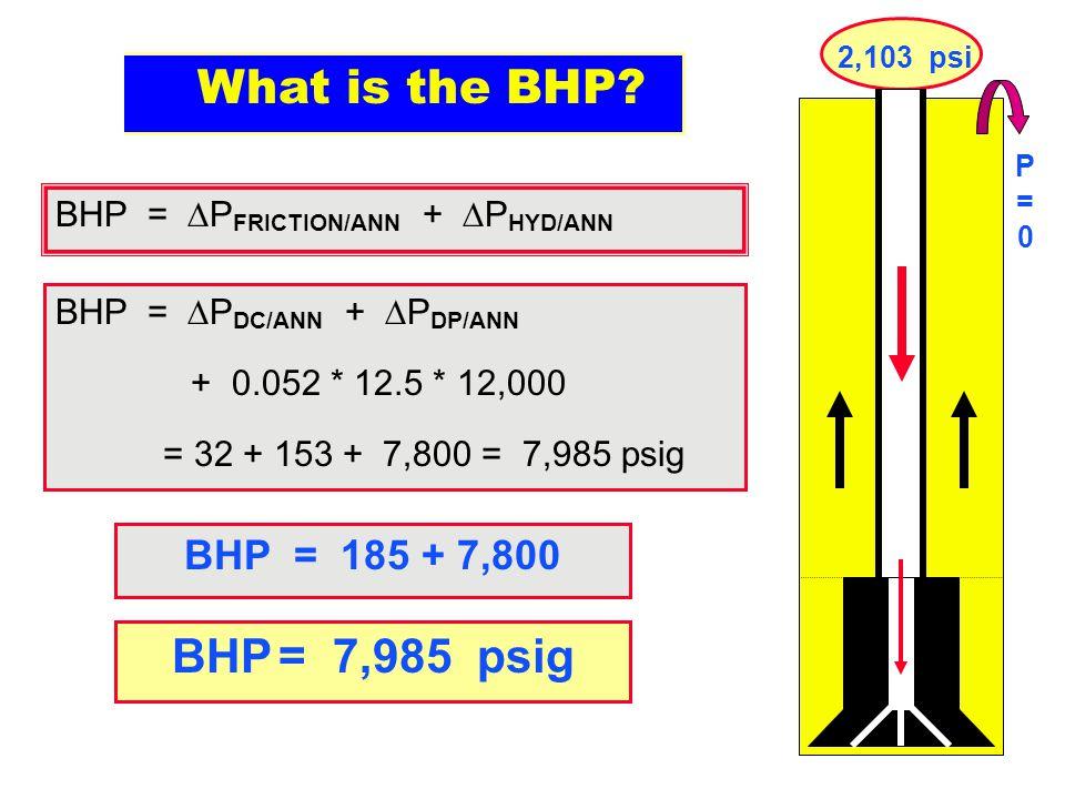 What is the BHP BHP = 7,985 psig BHP = 185 + 7,800