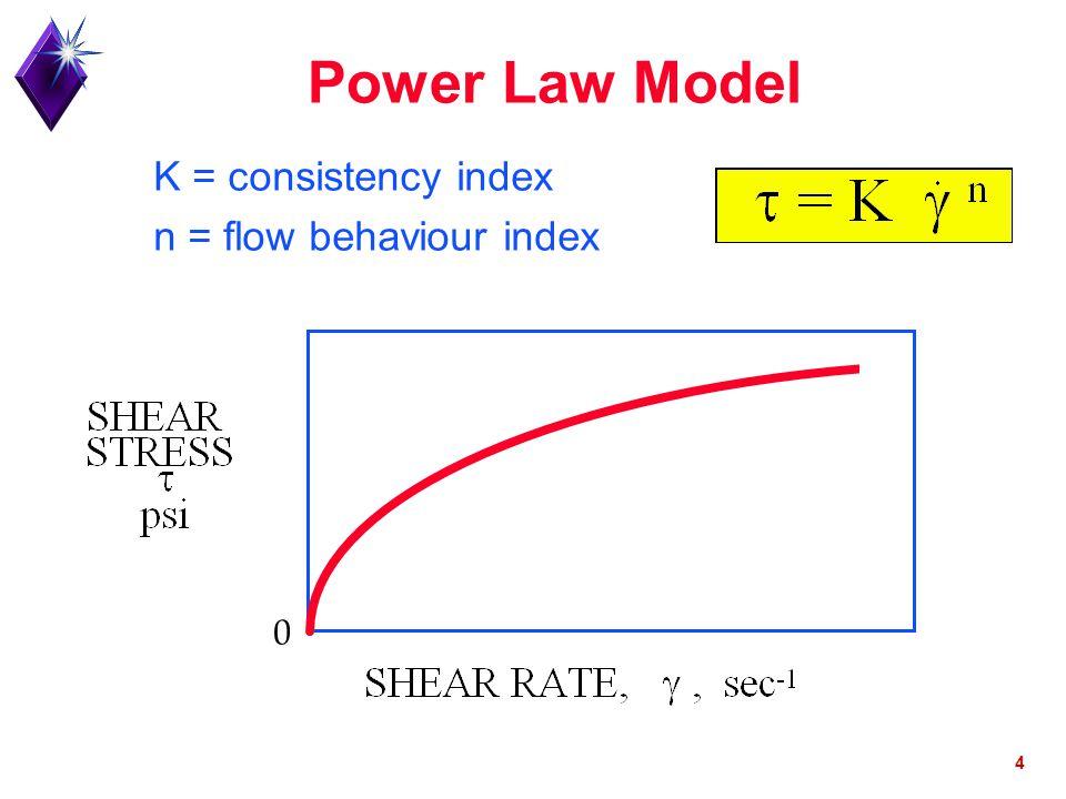 Power Law Model K = consistency index n = flow behaviour index