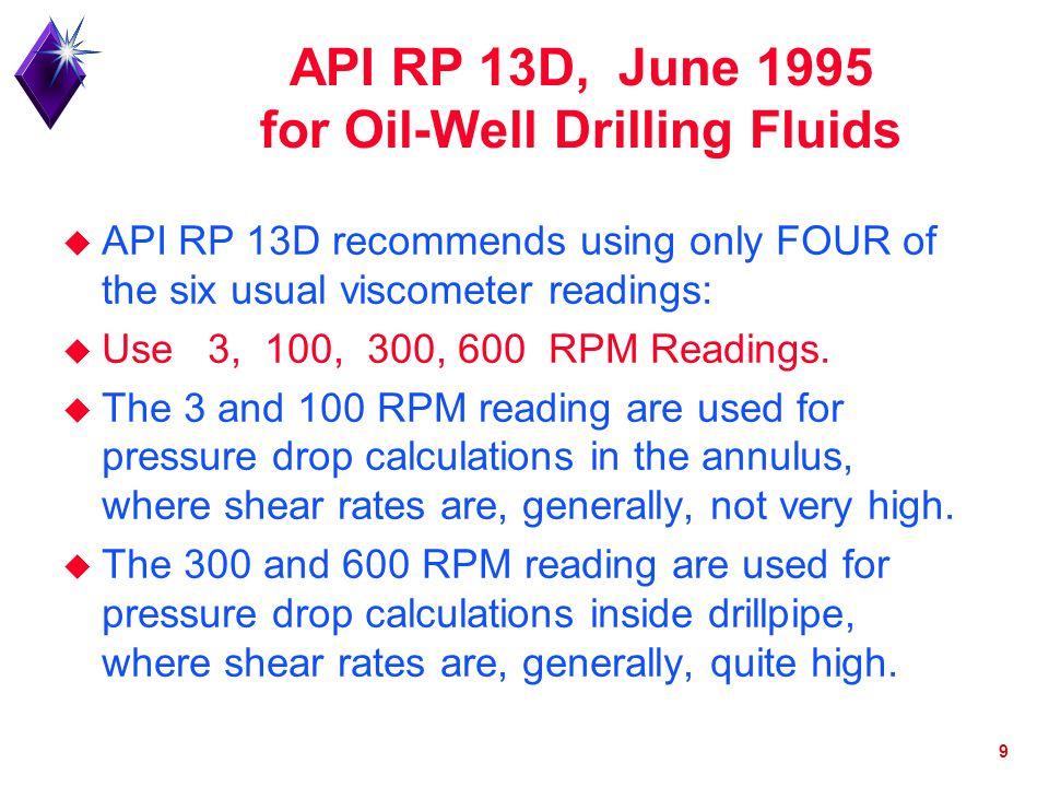 API RP 13D, June 1995 for Oil-Well Drilling Fluids