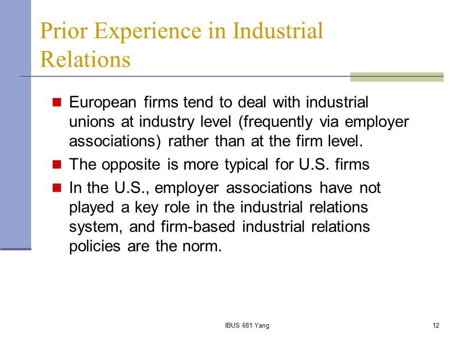 Prior Experience in Industrial Relations