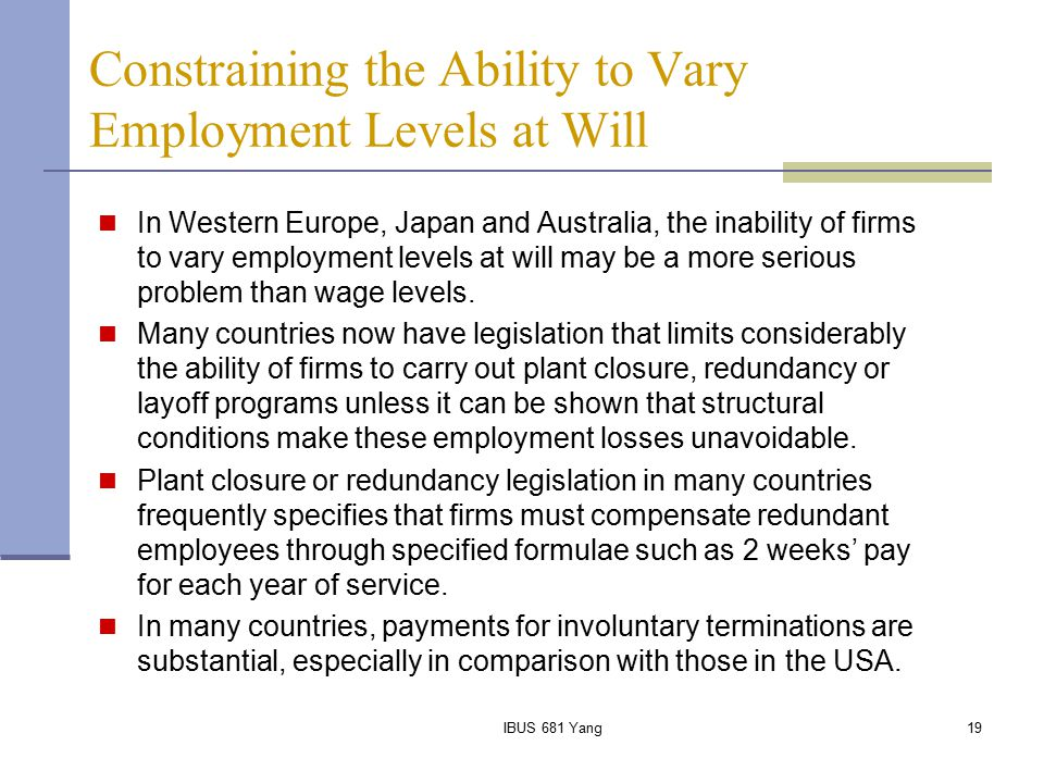 Constraining the Ability to Vary Employment Levels at Will