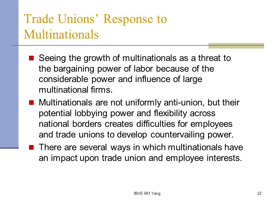 Trade Unions' Response to Multinationals