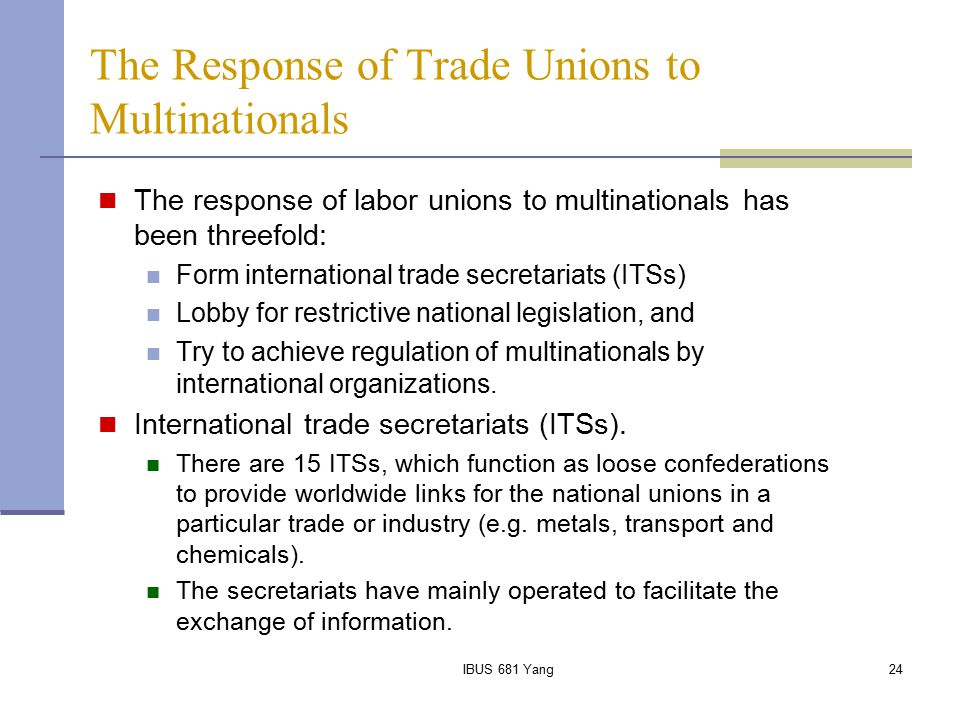 The Response of Trade Unions to Multinationals