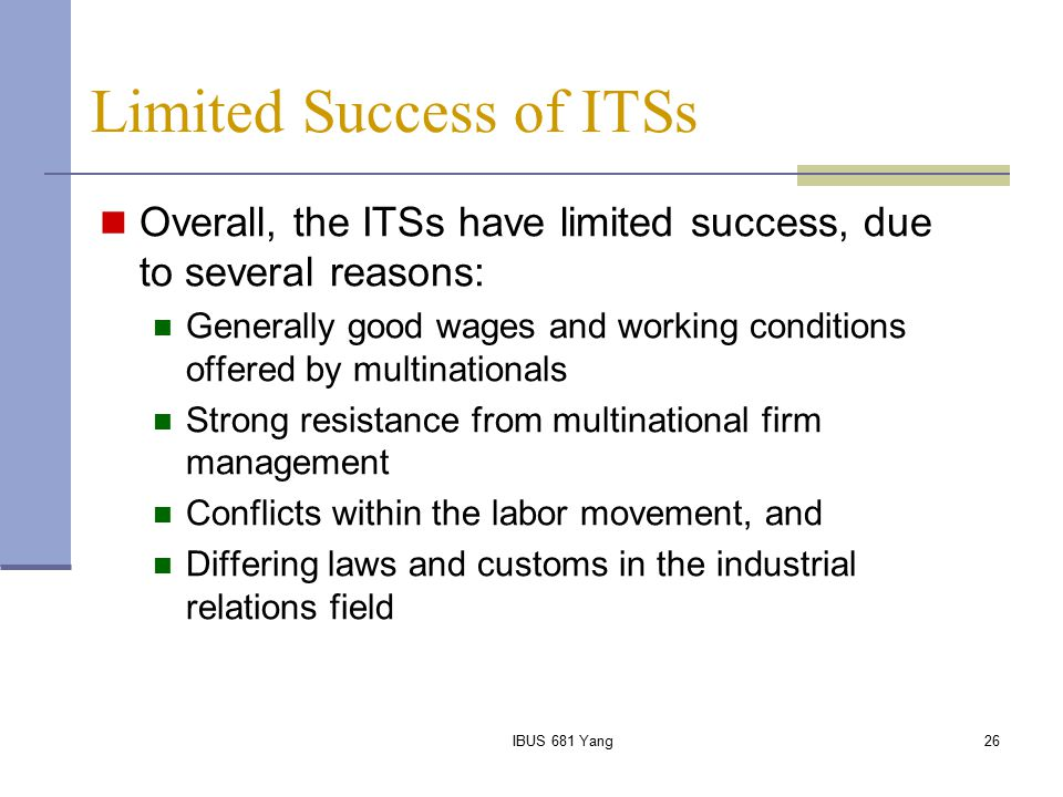 Limited Success of ITSs