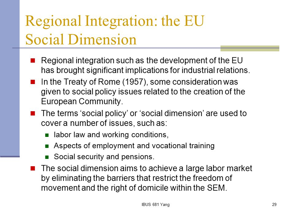 Regional Integration: the EU Social Dimension