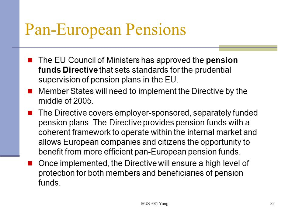 Pan-European Pensions