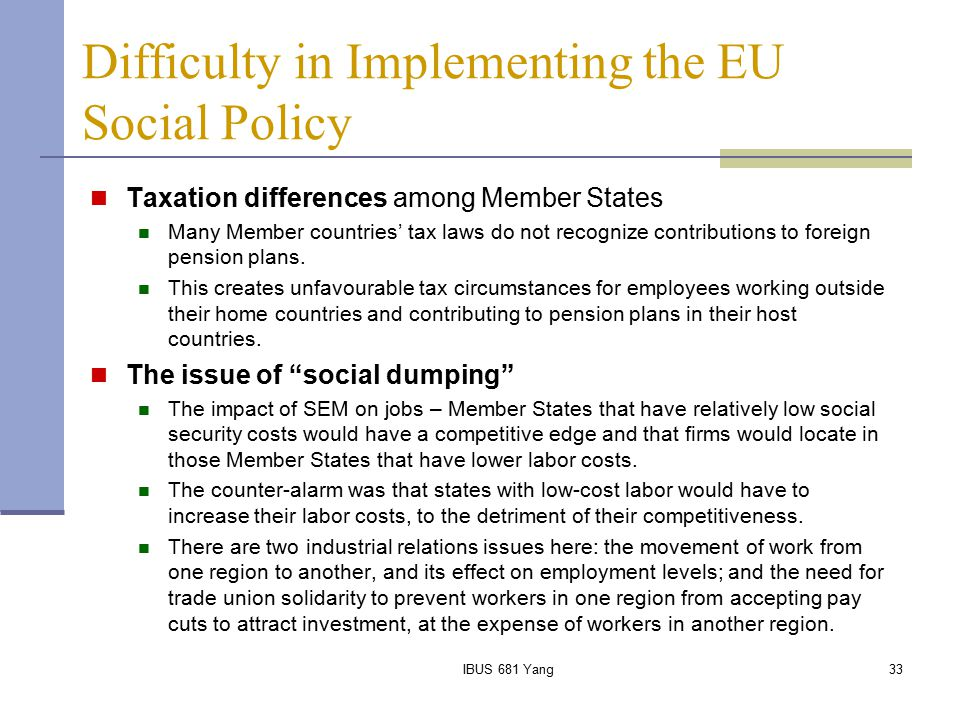 Difficulty in Implementing the EU Social Policy