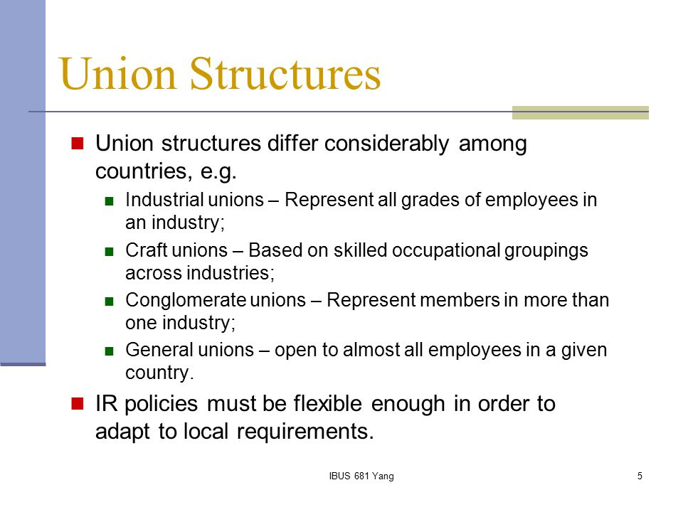 Union Structures Union structures differ considerably among countries, e.g. Industrial unions – Represent all grades of employees in an industry;