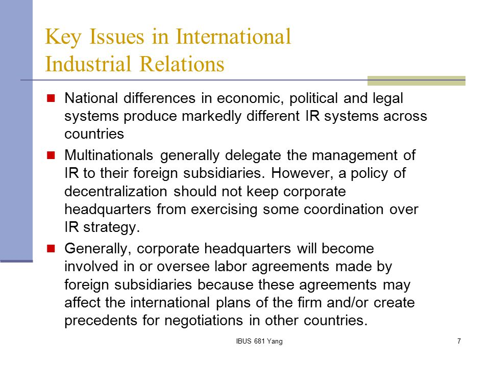 Key Issues in International Industrial Relations