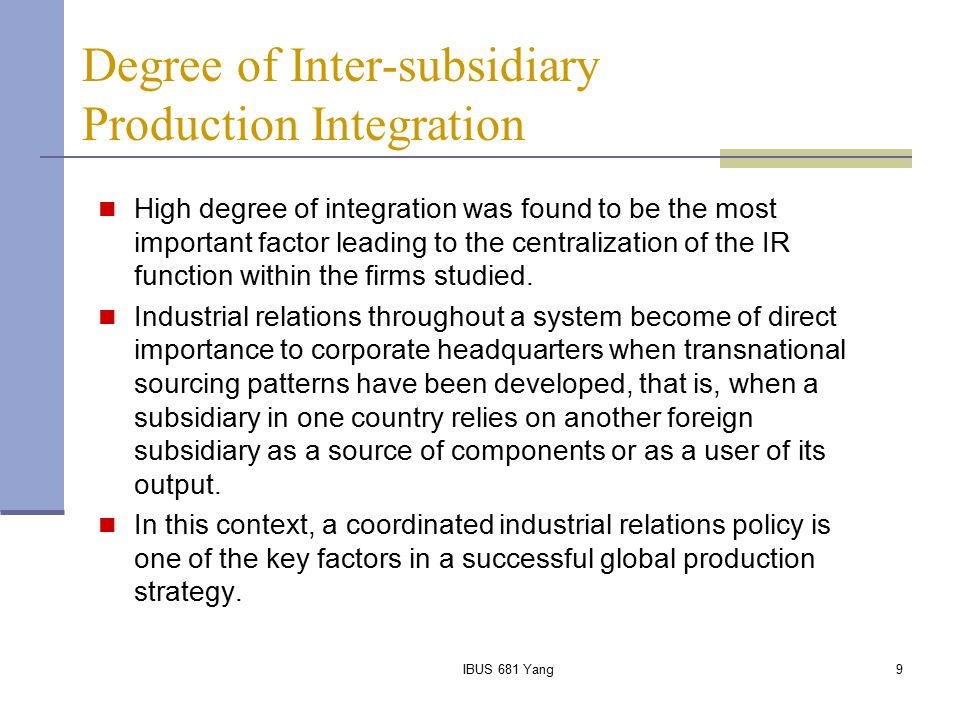 Degree of Inter-subsidiary Production Integration