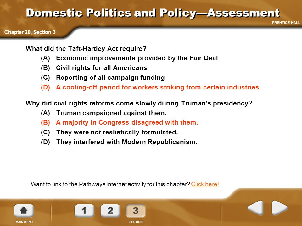 Domestic Politics and Policy—Assessment
