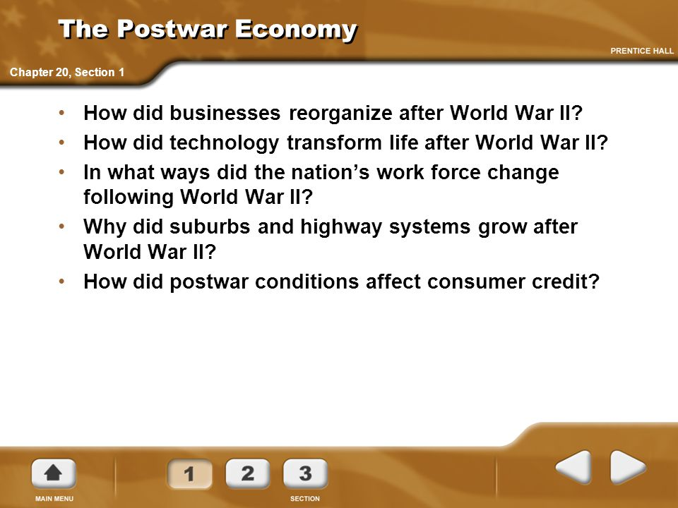 The Postwar Economy How did businesses reorganize after World War II