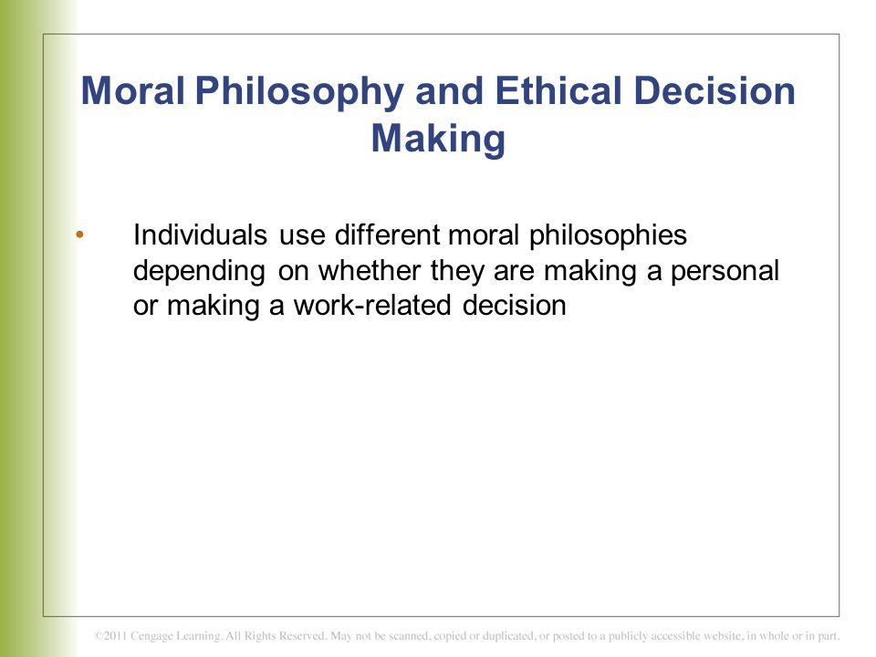 philosophical approach to ethical decision making Ethics in decision making can be addressed as part of the business decision making process.