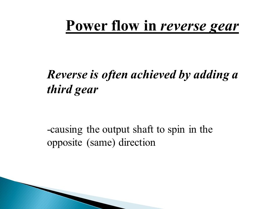 Power flow in reverse gear
