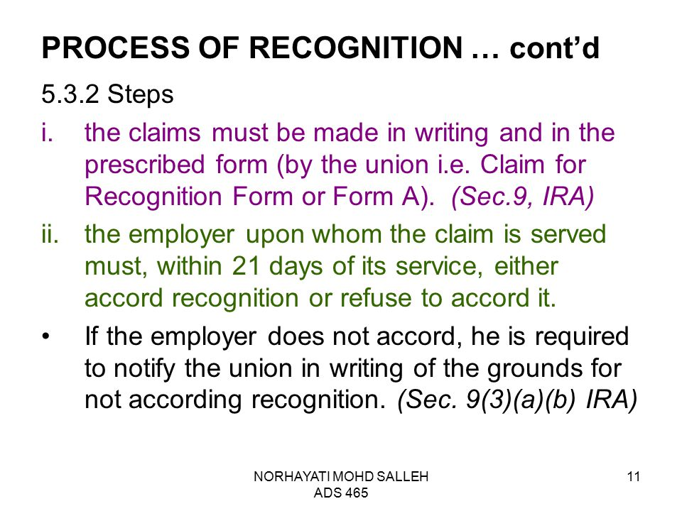 PROCESS OF RECOGNITION … cont'd