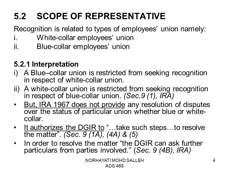 5.2 SCOPE OF REPRESENTATIVE
