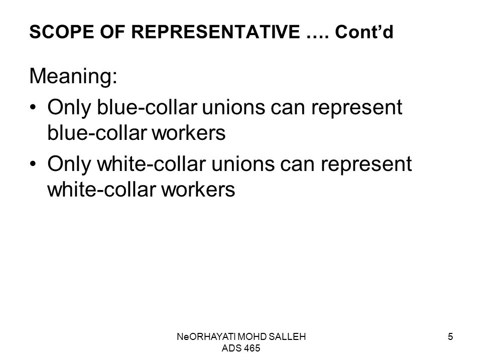 SCOPE OF REPRESENTATIVE …. Cont'd