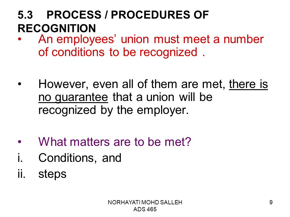 5.3 PROCESS / PROCEDURES OF RECOGNITION
