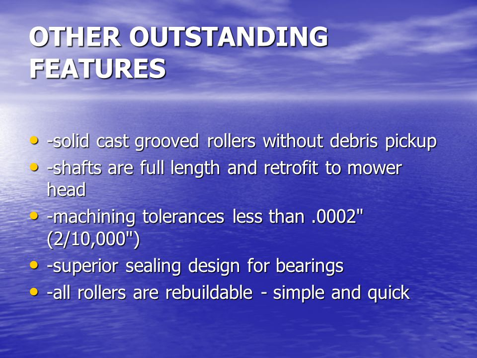 OTHER OUTSTANDING FEATURES