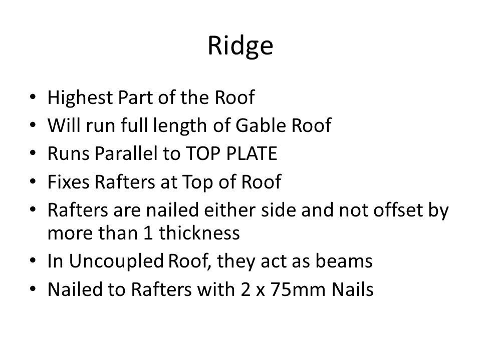 Ridge Highest Part of the Roof Will run full length of Gable Roof