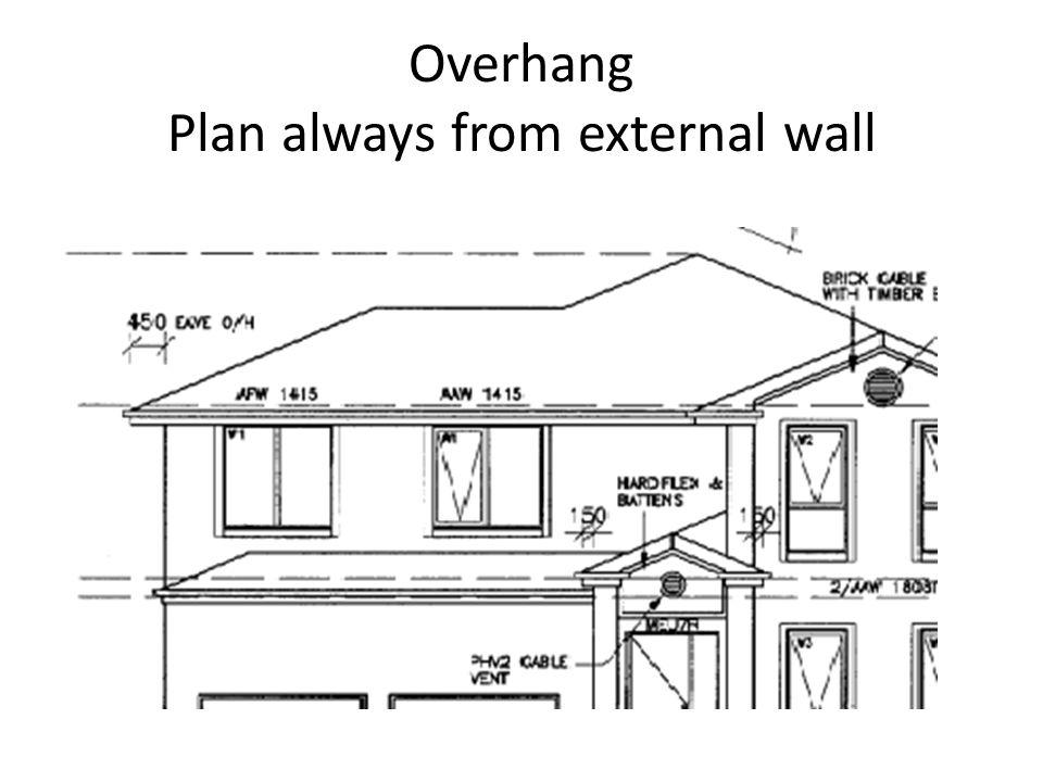 Overhang Plan always from external wall
