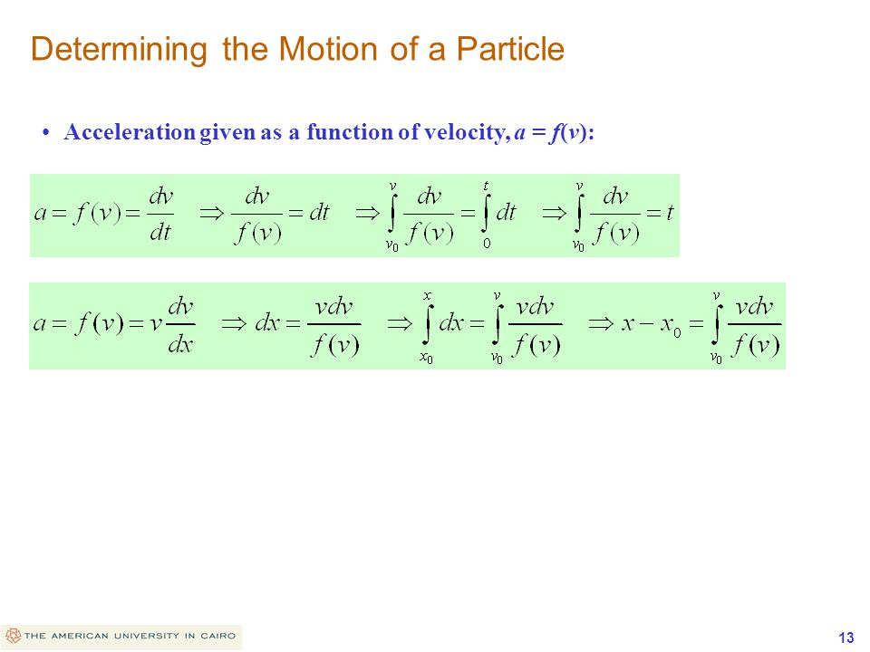 Determining the Motion of a Particle