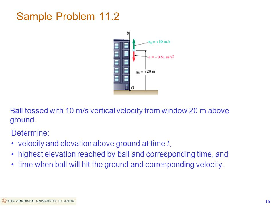 Sample Problem 11.2 Ball tossed with 10 m/s vertical velocity from window 20 m above ground. Determine: