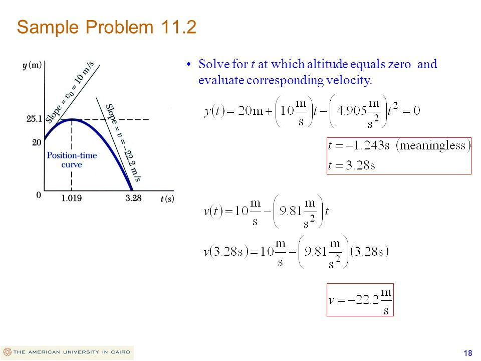 Sample Problem 11.2 Solve for t at which altitude equals zero and evaluate corresponding velocity.