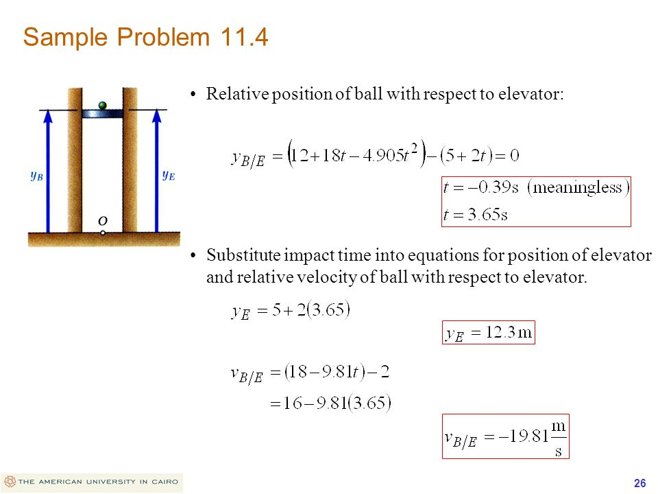 Sample Problem 11.4 Relative position of ball with respect to elevator: