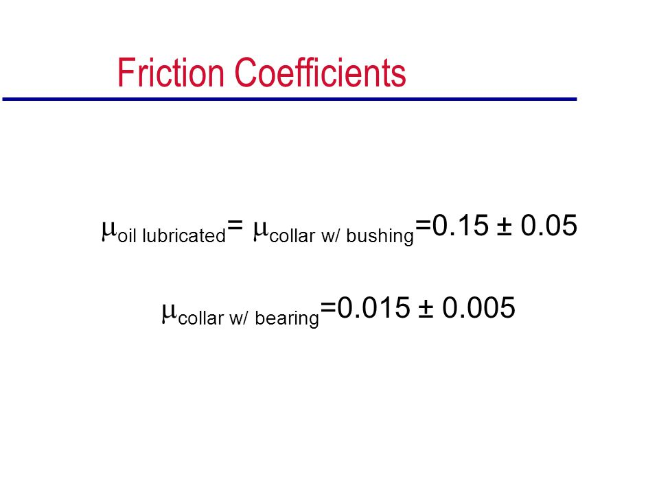 Friction Coefficients