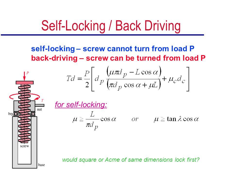 Self-Locking / Back Driving