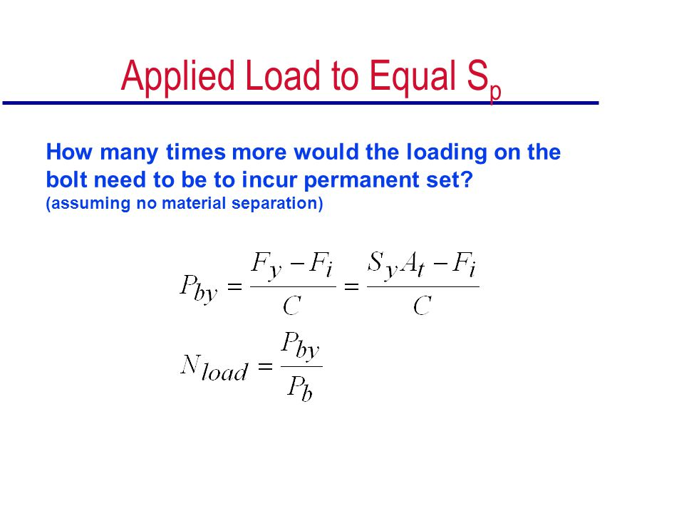 Applied Load to Equal Sp