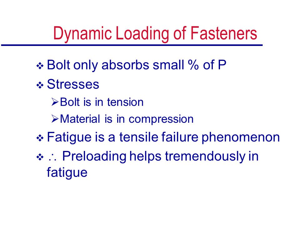 Dynamic Loading of Fasteners