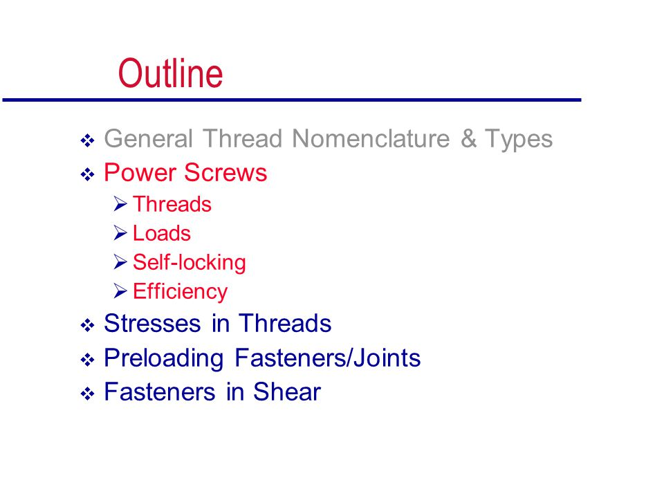 Outline General Thread Nomenclature & Types Power Screws