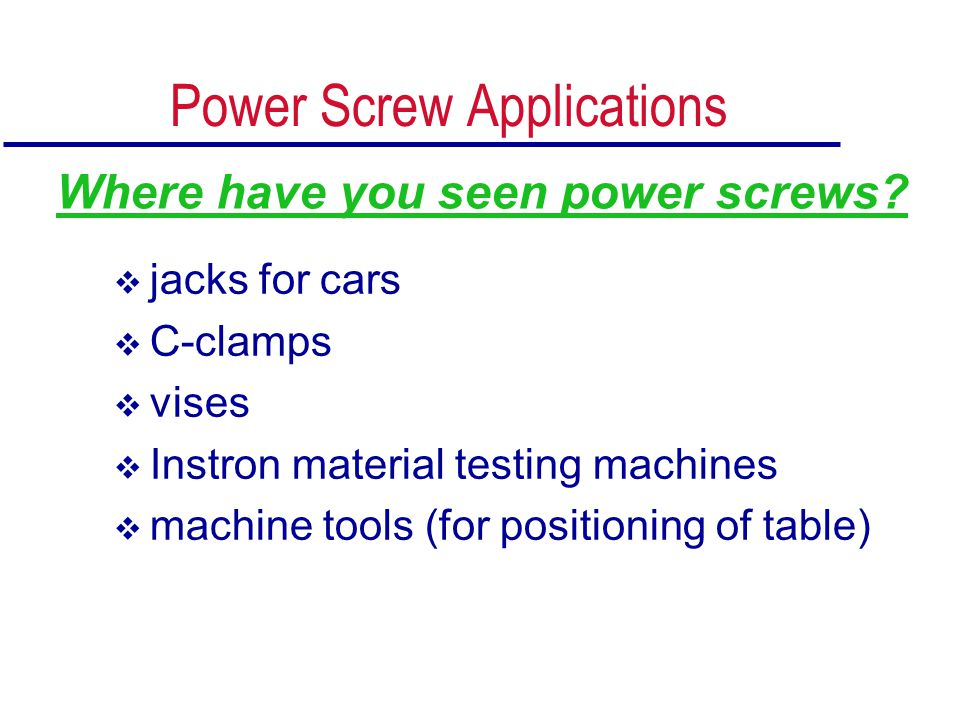 Power Screw Applications