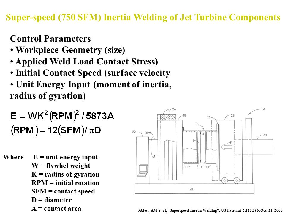 Super-speed (750 SFM) Inertia Welding of Jet Turbine Components
