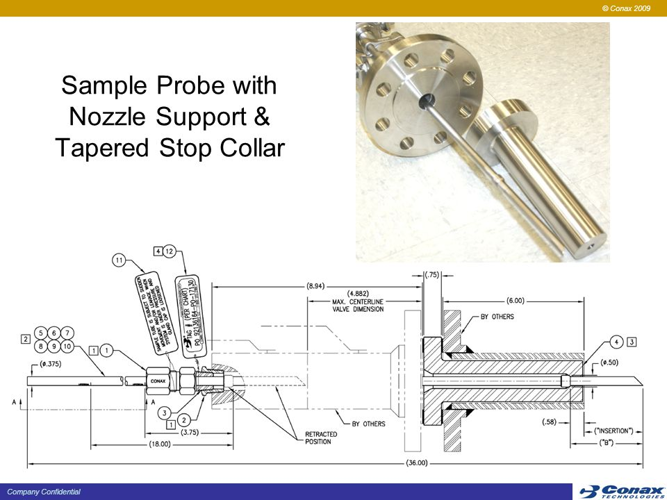 Sample Probe with Nozzle Support & Tapered Stop Collar