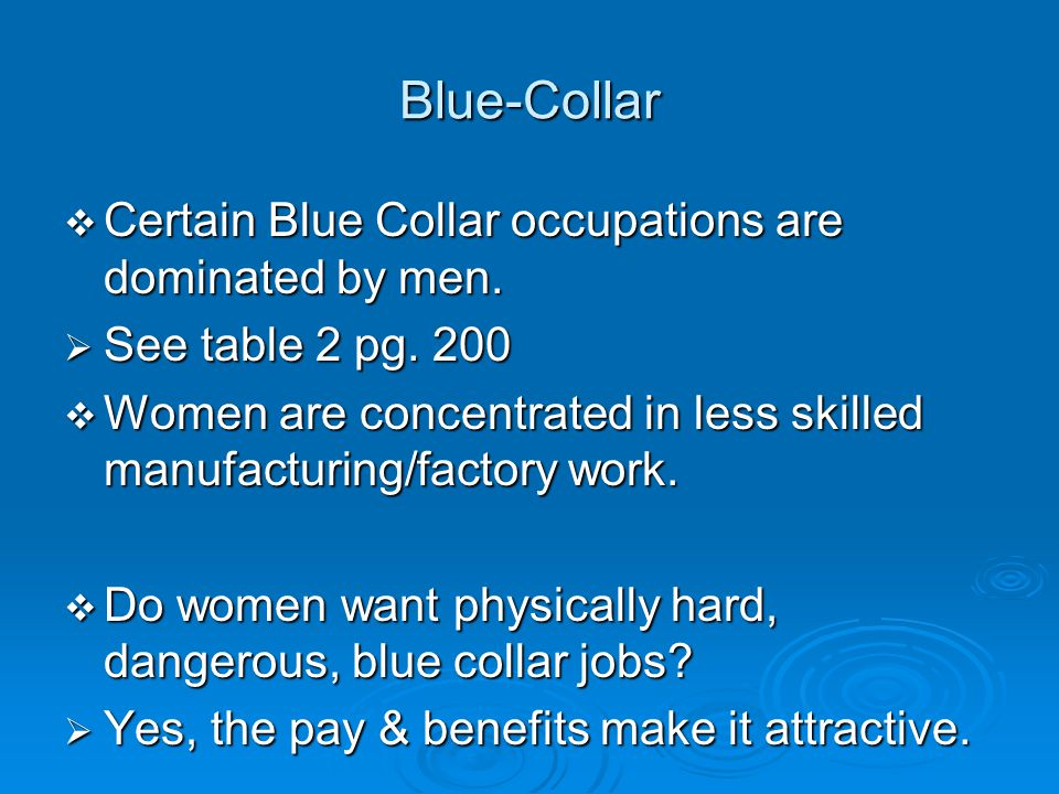Blue-Collar Certain Blue Collar occupations are dominated by men.