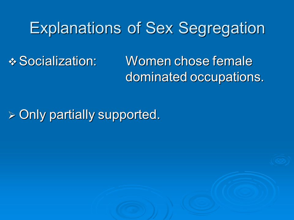 Explanations of Sex Segregation
